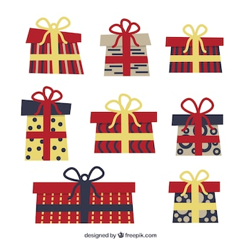 Nice pack of colorful christmas gifts with geometric shapes