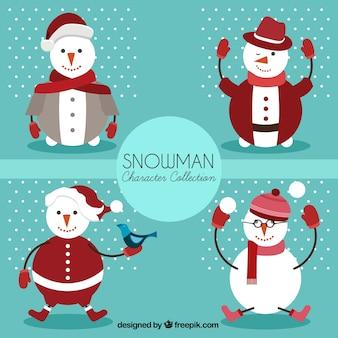 Nice pack of snowmen with geometric shape