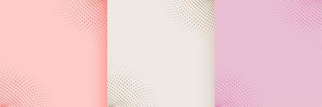 素敵なパステルカラーのハーフトーンの背景セット