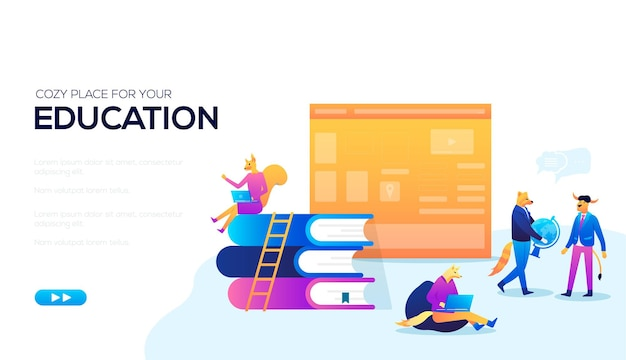 A nice place to train a web banner. concept of learning cozy environmen. vector learning at home.