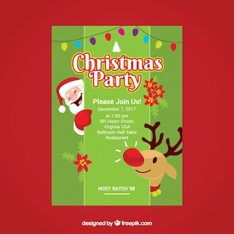 Nice poster of christmas party with santa claus and reindeer Free Vector