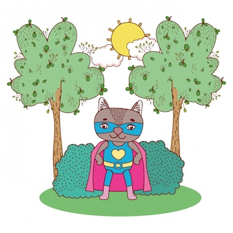 Nice raccoon with costume mask and cape in the landscape