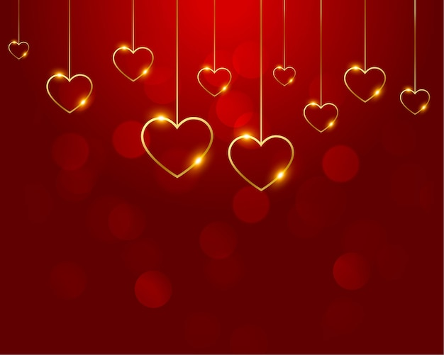 Nice red with golden hearts decoration