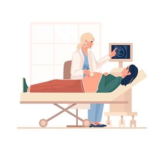 Красивая сцена с женщиной, ожидающей ребенка, посещающей врача, изолированных векторная иллюстрация