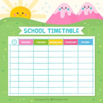 Nice school calendar with mountains and sun