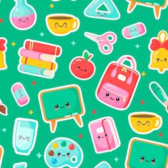 Nice school pattern kawais school subjects cartoon vector