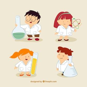 Nice scientist children in cartoon style