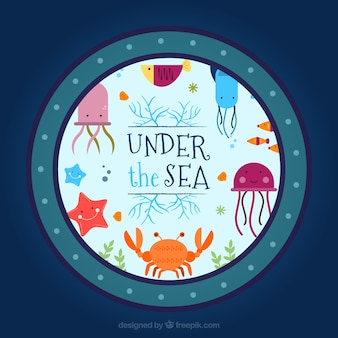 Nice sea animals under the sea background