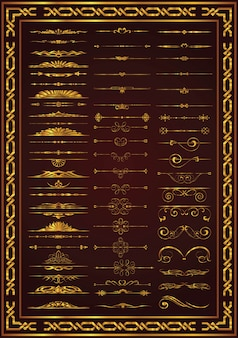 Nice set calligraphic decor elements gold color