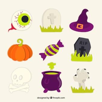 Bella serie di elementi colorati halloween