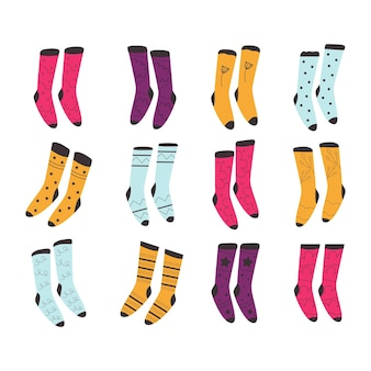 Nice set of warm socks, great design for any purpose. 12 original images. isolated vector illustration. cozy winter and autumn holiday season. vector illustration, hand drawn