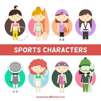 Nice sporty girls in flat design