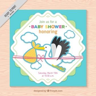 Nice stork baby shower card