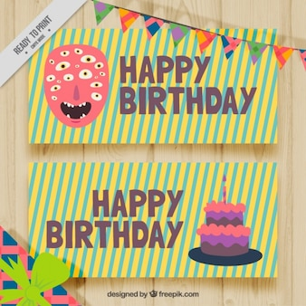 Nice stripes birthday cards