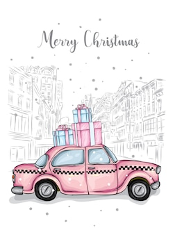 Nice taxi and gifts isolated on buildings background