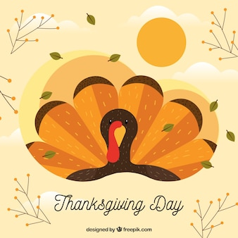 Nice thanksgiving background with turkey in flat design