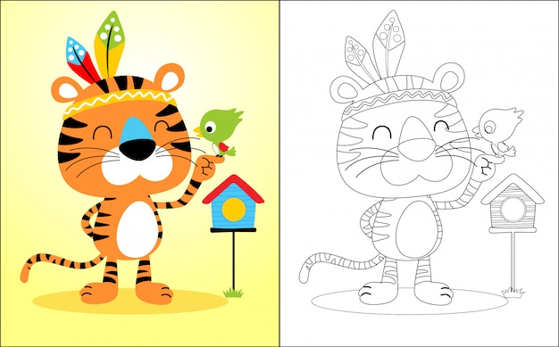 Nice tiger cartoon with little bird