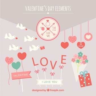 Nice valentines day elements Free Vector