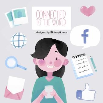소셜 네트워크의 요소와 좋은 수채화 소녀 배경