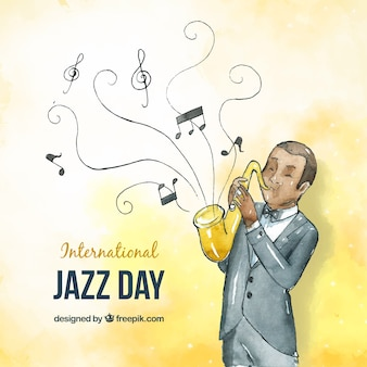 Bello sfondo acquerello per la giornata internazionale del jazz