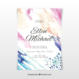 Nice watercolour wedding invitation