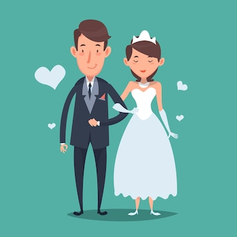 Nice wedding couple in cartoon style