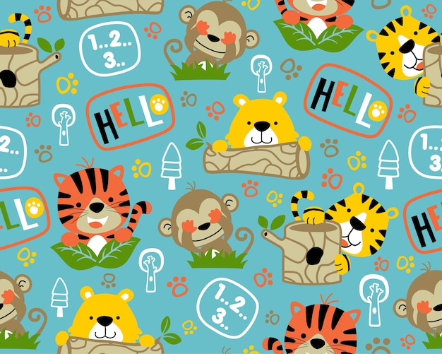 Nice wildlife animals cartoon on seamless pattern vector