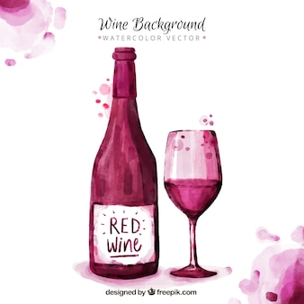 Nice wine background painted with watercolors