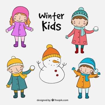 손으로 그린 스타일의 멋진 겨울 애들