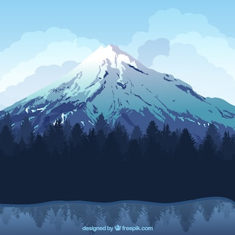 Nice winter landscape background with snowy mountain