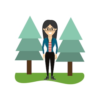 Nice woman with glasses and clothes with pine trees
