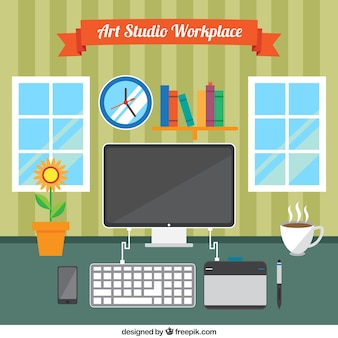 Nice work space, art studio