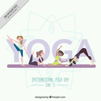 Nice yoga background with girls doing poses