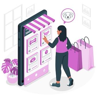 Illustrazione del concetto di mercato dei servizi di nicchia