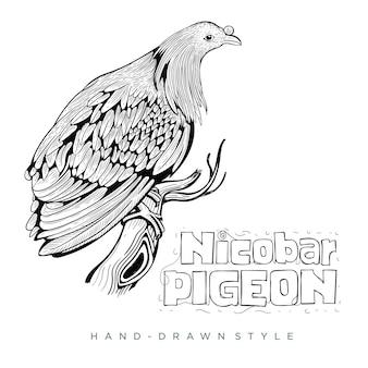 니코 바 비둘기는 나무 줄기에 자리 잡고, 손으로 그린 동물 그림