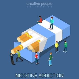 Nicotine addiction flat isometric