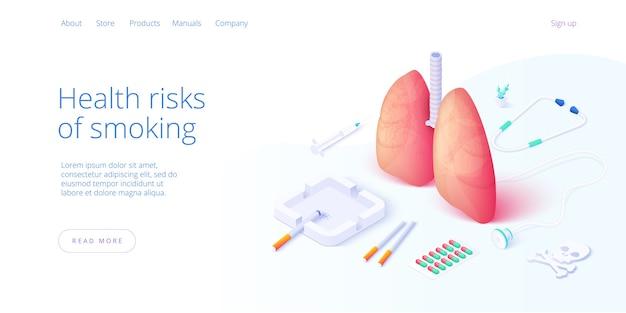 等尺性ベクトルデザインのニコチン依存症または喫煙中毒の図。タバコ中毒者または喫煙者のための概念として灰皿とライターを備えたタバコと肺。 webバナーレイアウトテンプレート。