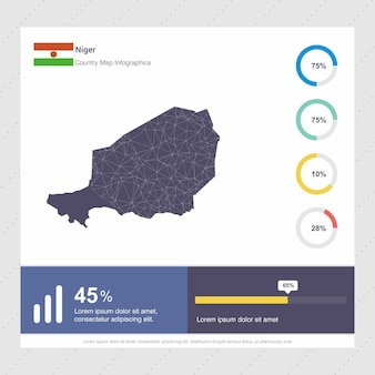Niger map & flag infographics template