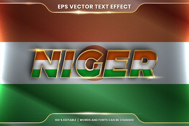 Niger with its national country flag, editable text effect style with gradient gold color concept