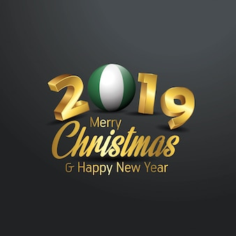 ナイジェリアの旗2019 merry christmas typography