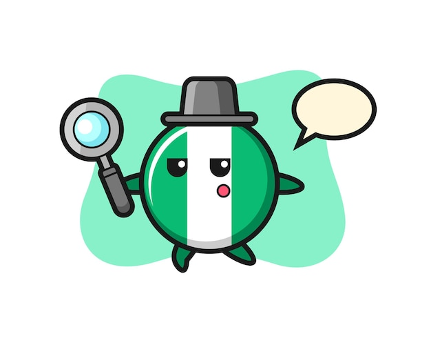 Nigeria flag badge cartoon character searching with a magnifying glass , cute style design for t shirt, sticker, logo element