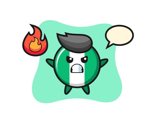 Мультфильм значок флага нигерии с сердитым жестом, милый стиль дизайна для футболки, стикер, элемент логотипа