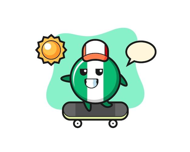 나이지리아 국기 배지 캐릭터 그림은 스케이트보드를 타고, 티셔츠, 스티커, 로고 요소를 위한 귀여운 스타일 디자인