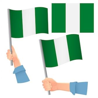ナイジェリアの旗を手にセット