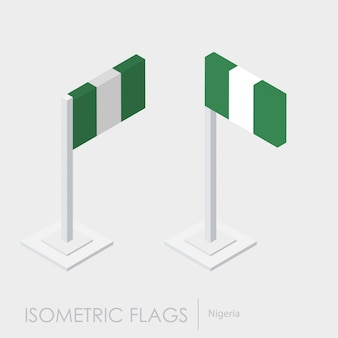 Nigeria flag isometric style, 3d style, different views