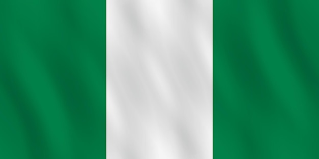 Nigeria flag with waving effect, official proportion.