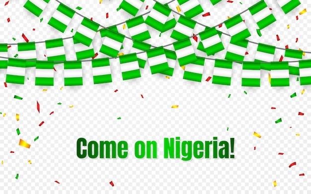 透明な背景に紙吹雪とナイジェリアの花輪の旗、お祝いのテンプレートバナーの旗布を掛ける、