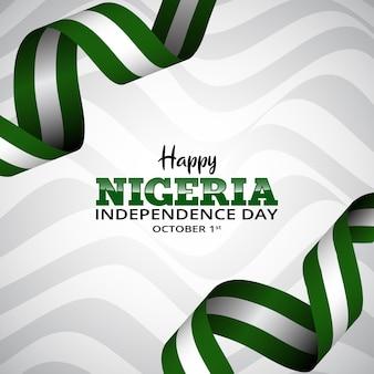 День независимости нигерии фон с развевающимся флагом лентой и рисунком