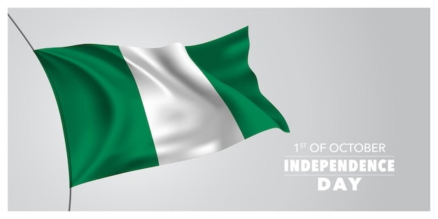 Nigeria independence day greeting card, banner, horizontal vector illustration. nigerian holiday 1st of october design element with waving flag as a symbol of independence