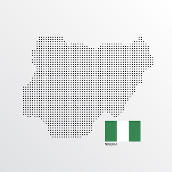 Nigeria map design with flag and light background vector